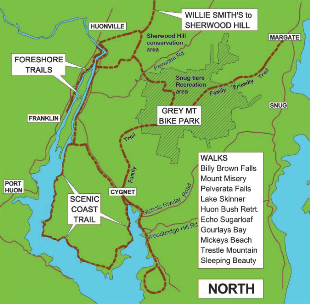 The Huon Trails walks map